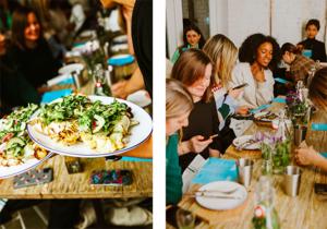 Vacker vegansk mat serveras till glada gäster